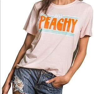 "Tops - ""Just Peachy"" Short Sleeve Summer Graphic Tee"